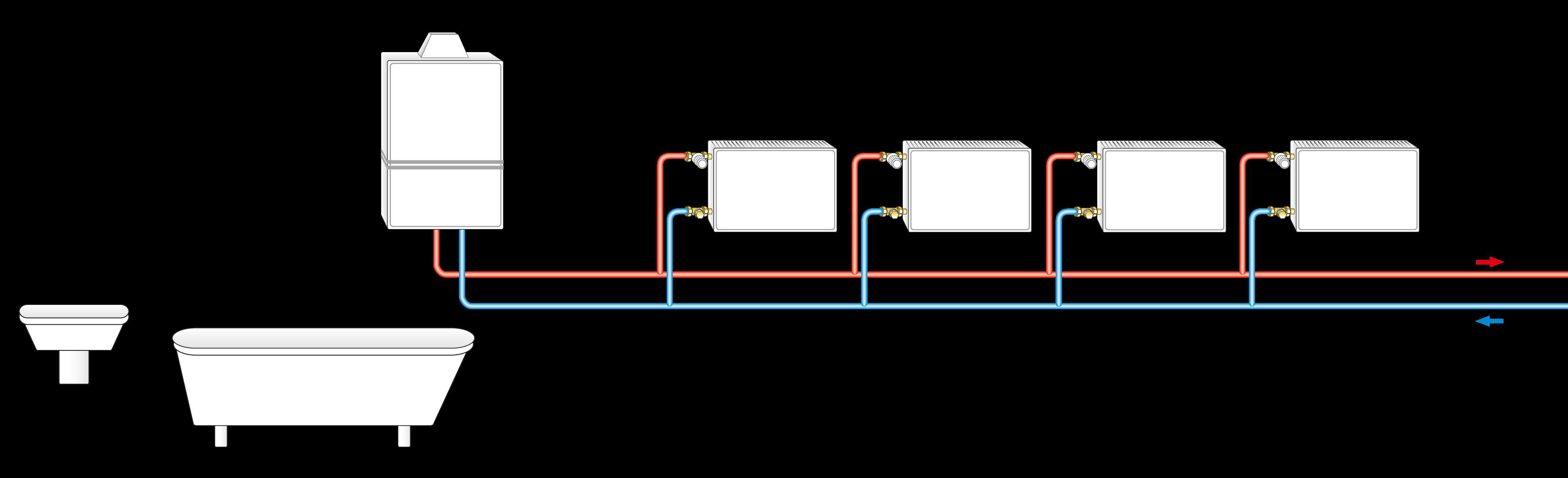 Etagenheizung mit kompaktem Wandheizgerät inkl. Pumpe